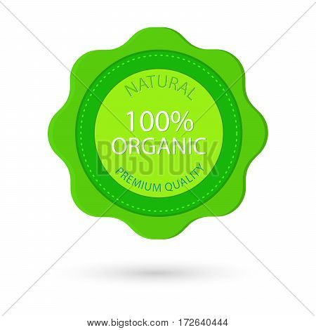 Customer 100% Organic natural product badge and banner in red and blue vector illustration