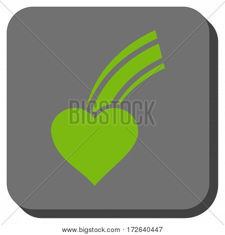 Falling Heart interface button. Vector pictograph style is a flat symbol in a rounded square button light green and gray colors.