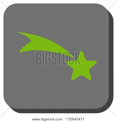 Falling Star toolbar button. Vector pictogram style is a flat symbol inside a rounded square button light green and gray colors.