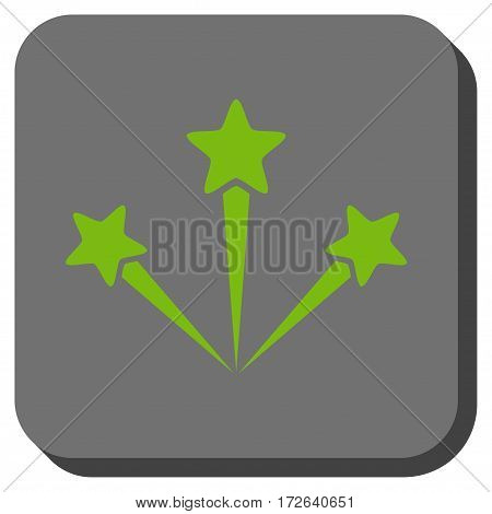 Festive Fireworks toolbar button. Vector pictogram style is a flat symbol inside a rounded square button light green and gray colors.