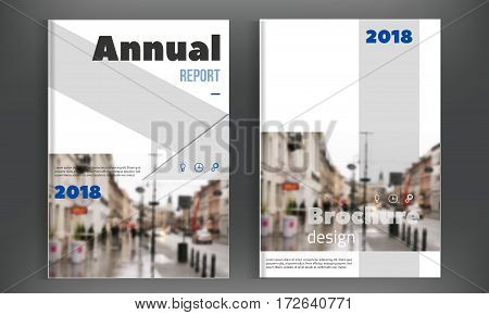 Blue Brochure cover design template. Annual Report layout, Flyer Leaflet Presentation. Modern simple clean background. A4 size vector illustration.