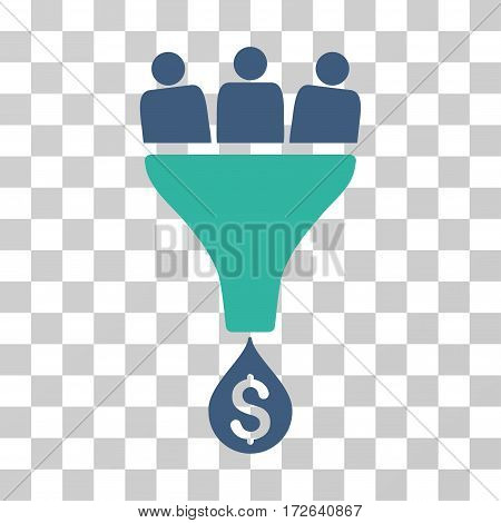 Sales Funnel icon. Vector illustration style is flat iconic bicolor symbol cobalt and cyan colors transparent background. Designed for web and software interfaces.