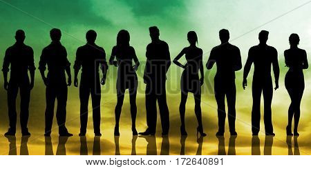 Group of Business People on a Sunset Background as Abstract 3D Illustration Render