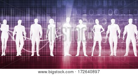 Abstract Data of Population and Key Demographic People 3D Illustration Render