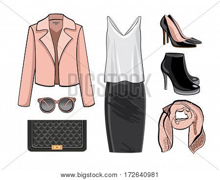 Illustration stylish and trendy clothing.Coat, leather narrowed skirt, high heels shoes and stylish hat. Silhouette made in modern flat vector style. Fashion vector Illustration