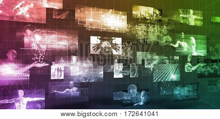Moving Screens Analysis and Analytics Software Technology Art 3D Illustration Render