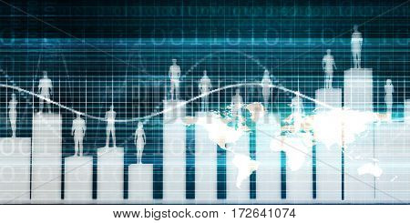 People Standing on a Bar Chart with Different Levels 3D Illustration Render