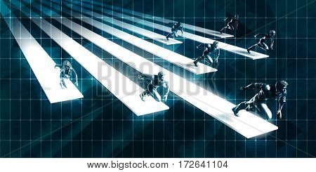 Career Growth with Corporate Business People Running to Success 3D Illustration Render