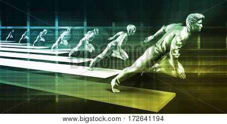 Business People Group Run Team Leader Competition Concept  3D Illustration Render