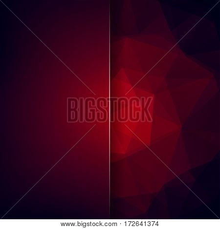 Background Of Red, Black, Purple Geometric Shapes. Blur Background With Glass. Colorful Mosaic Patte