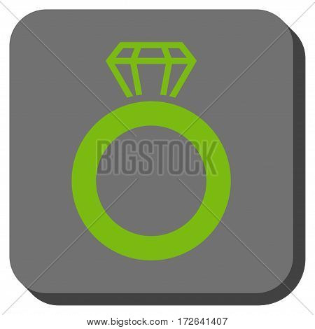 Gem Ring rounded button. Vector pictograph style is a flat symbol centered in a rounded square button light green and gray colors.