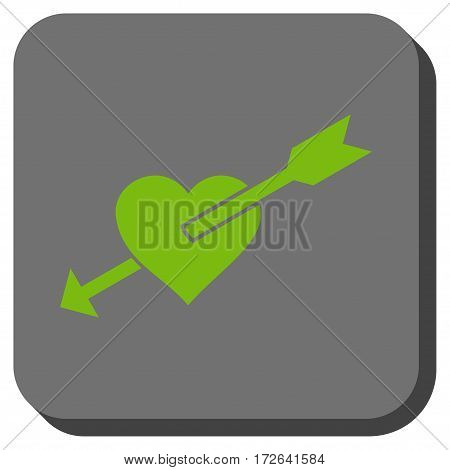 Heart Arrow interface button. Vector pictograph style is a flat symbol centered in a rounded square button light green and gray colors.