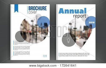Circle Blue annual report Leaflet Set with blured city. Clean Brochure template in A4 size design. Book cover layout design, presentation templates.