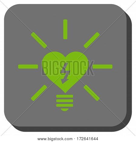 Heart Electric Bulb toolbar icon. Vector pictogram style is a flat symbol in a rounded square button light green and gray colors.