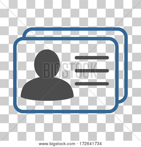 Account Cards icon. Vector illustration style is flat iconic bicolor symbol cobalt and gray colors transparent background. Designed for web and software interfaces.