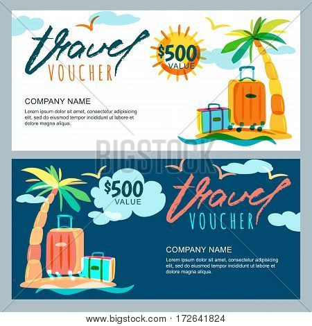 Vector Gift Travel Voucher Template. Tropical Island Landscape With Palm Tree And Luggage Suitcase.