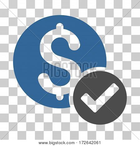 Approved Payment icon. Vector illustration style is flat iconic bicolor symbol cobalt and gray colors transparent background. Designed for web and software interfaces.