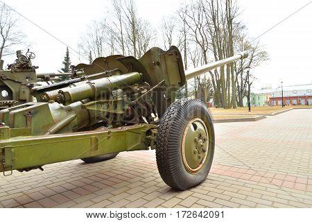 Soviet anti-tank gun of the Second World War in St.Petersburg Russia.