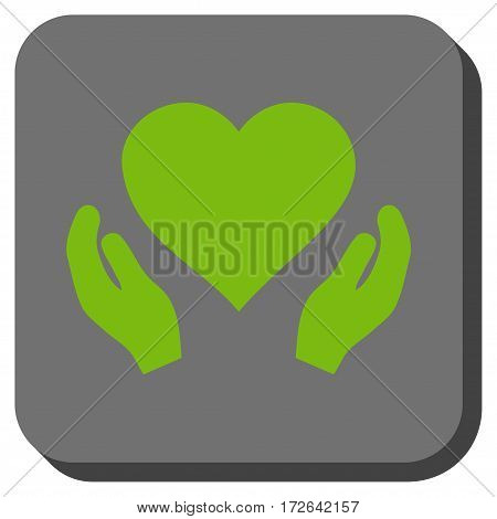 Love Care Hands interface icon. Vector pictograph style is a flat symbol on a rounded square button light green and gray colors.