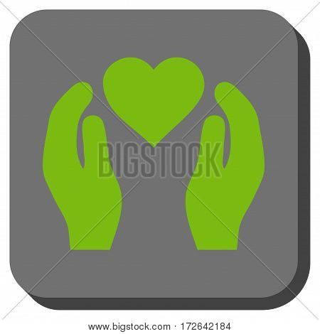Love Care Hands rounded button. Vector pictograph style is a flat symbol in a rounded square button light green and gray colors.