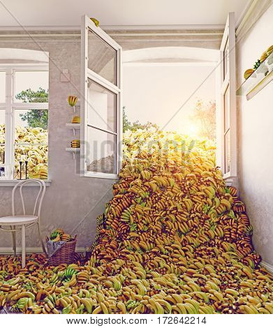 The room, full of bananas. 3d creative concept