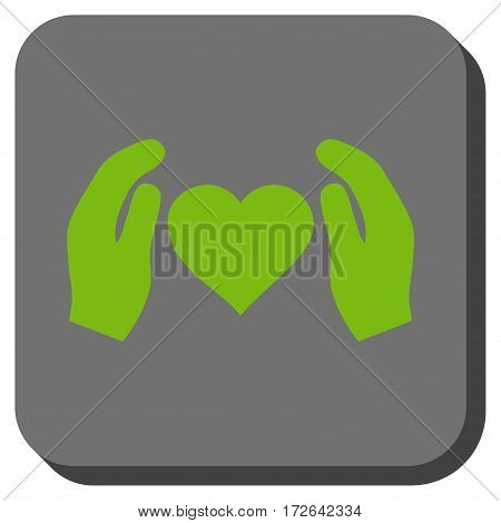 Love Care Hands interface toolbar icon. Vector pictogram style is a flat symbol in a rounded square button light green and gray colors.