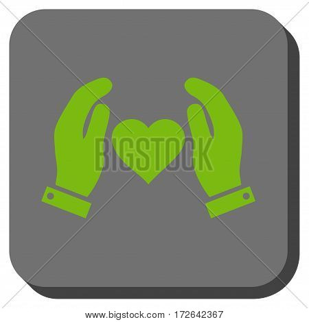 Love Care Hands toolbar button. Vector pictogram style is a flat symbol on a rounded square button light green and gray colors.