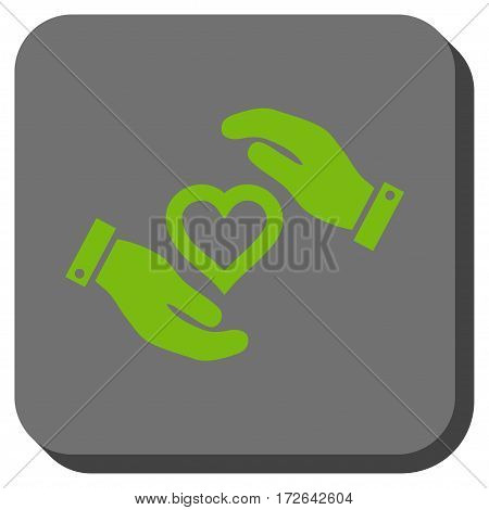 Love Heart Care Hands rounded button. Vector pictograph style is a flat symbol in a rounded square button light green and gray colors.