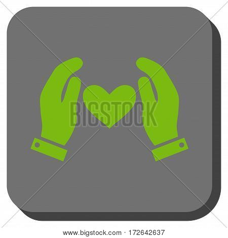 Love Heart Care Hands toolbar icon. Vector pictograph style is a flat symbol inside a rounded square button light green and gray colors.