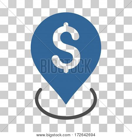 Bank Placement icon. Vector illustration style is flat iconic bicolor symbol cobalt and gray colors transparent background. Designed for web and software interfaces.