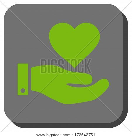 Love Heart Offer Hand square button. Vector pictogram style is a flat symbol centered in a rounded square button light green and gray colors.