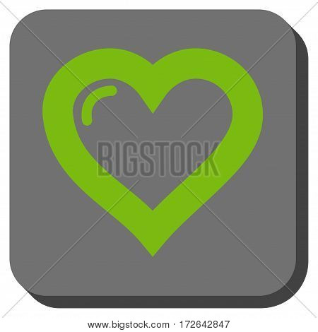 Love Heart square button. Vector pictograph style is a flat symbol in a rounded square button light green and gray colors.