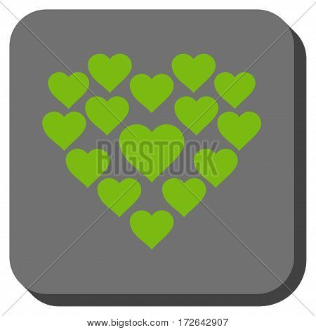 Love Hearts Shape interface icon. Vector pictograph style is a flat symbol on a rounded square button light green and gray colors.
