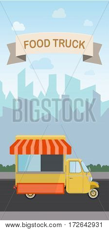 Flat design style modern vector illustration food truck. Isolated on stylish color background city