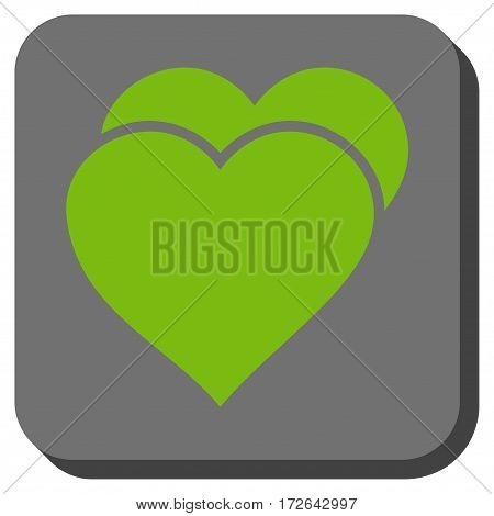 Love Hearts interface toolbar icon. Vector pictogram style is a flat symbol in a rounded square button light green and gray colors.