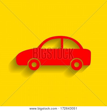 Car sign illustration. Vector. Red icon with soft shadow on golden background.