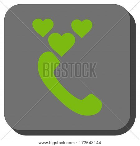 Love Phone Call rounded button. Vector pictogram style is a flat symbol centered in a rounded square button light green and gray colors.