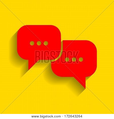 Speech bubbles sign. Vector. Red icon with soft shadow on golden background.