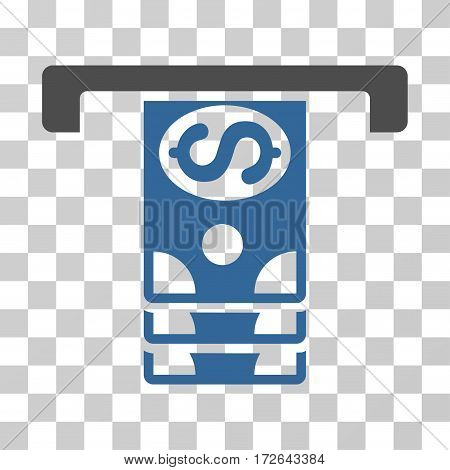 Banknotes Withdraw icon. Vector illustration style is flat iconic bicolor symbol cobalt and gray colors transparent background. Designed for web and software interfaces.