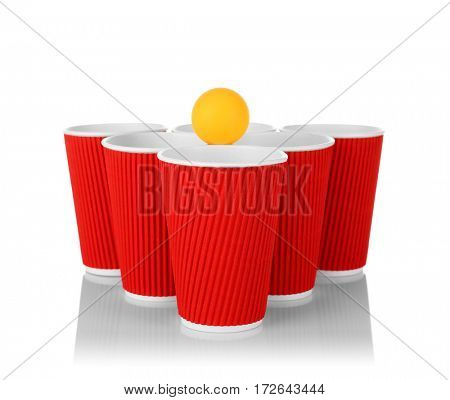 Plastic cups and tennis ball on white background. Beer pong concept