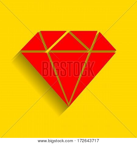 Diamond sign illustration. Vector. Red icon with soft shadow on golden background.