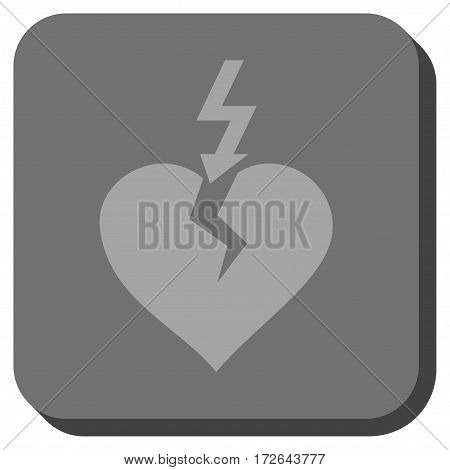 Break Heart rounded icon. Vector pictograph style is a flat symbol inside a rounded square button light gray and gray colors.