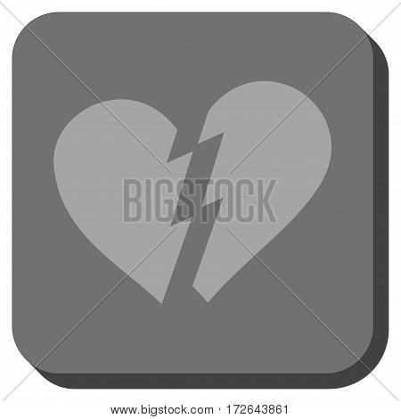 Broken Heart interface icon. Vector pictogram style is a flat symbol on a rounded square button light gray and gray colors.