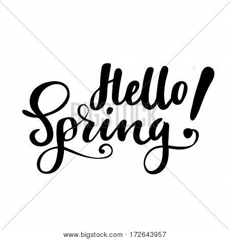 Greeting card with phrase: Hello spring. Vector isolated illustration: brush calligraphy, hand lettering. Inspirational typography poster