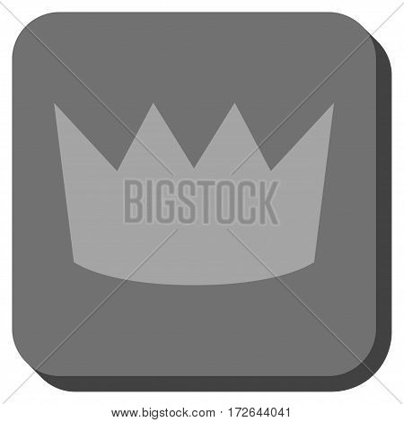 Crown toolbar button. Vector pictograph style is a flat symbol in a rounded square button light gray and gray colors.