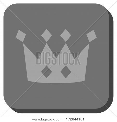 Crown interface icon. Vector pictogram style is a flat symbol inside a rounded square button light gray and gray colors.