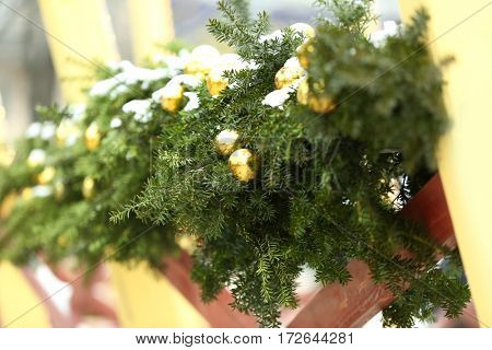 Christmas decor with snowy fir tree branches