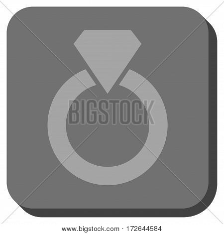 Diamond Ring rounded icon. Vector pictograph style is a flat symbol centered in a rounded square button light gray and gray colors.