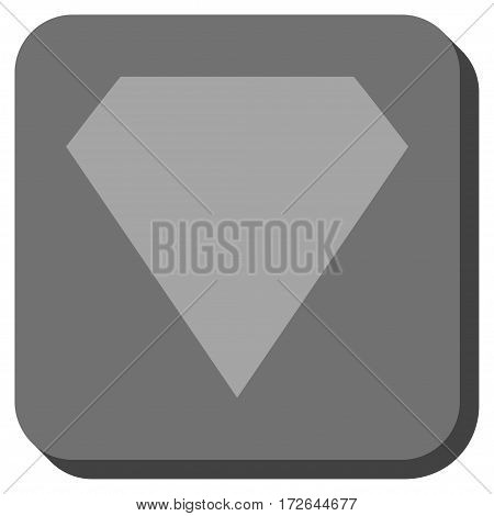 Diamond interface toolbar icon. Vector pictogram style is a flat symbol in a rounded square button light gray and gray colors.