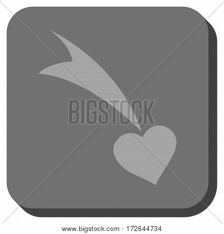 Falling Heart rounded icon. Vector pictograph style is a flat symbol inside a rounded square button light gray and gray colors.